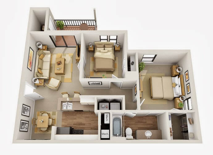 Design of two bedroom apartment