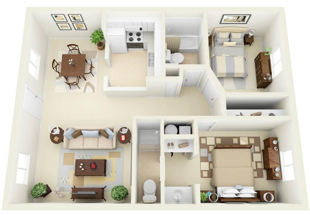 Flat modern square apartment designed in 3D