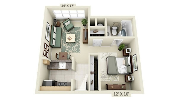 Flat small square apartment