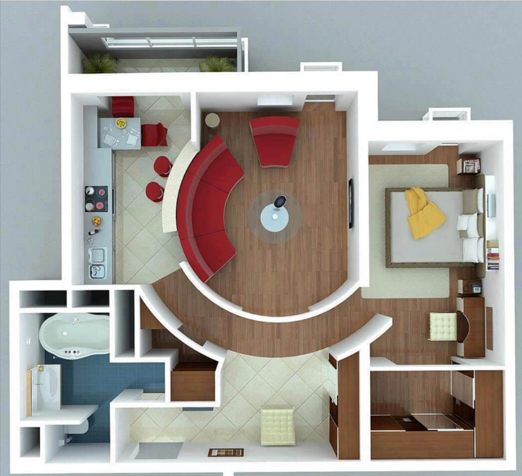 Floor plan of a modern single bedroom apartment