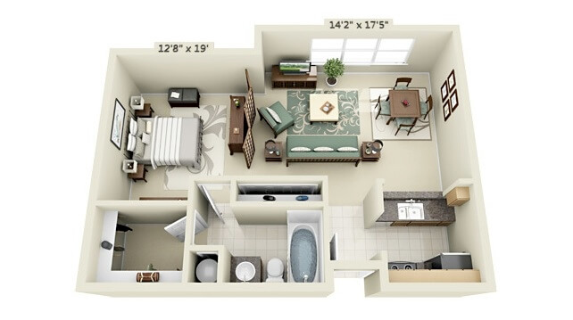 Floor plan of a one bedroom apartment