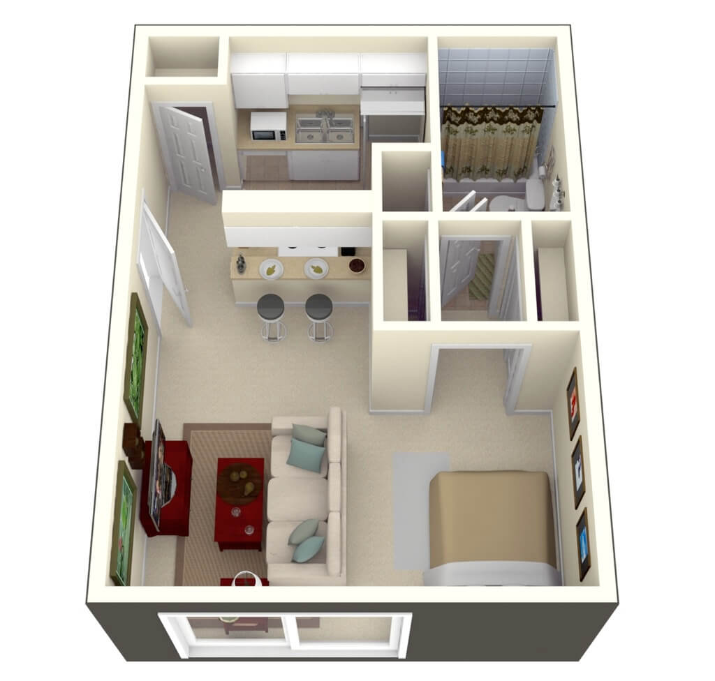 Floor plan of a single bedroom apartment design