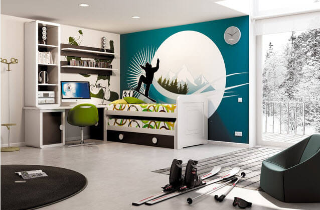 Interior decoration for kids athletes bedroom