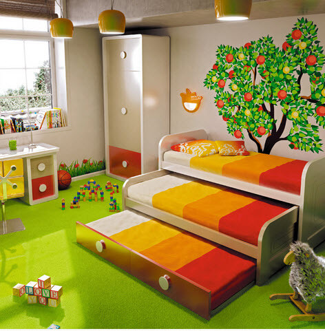 Interior decoration for kids bedroom nature
