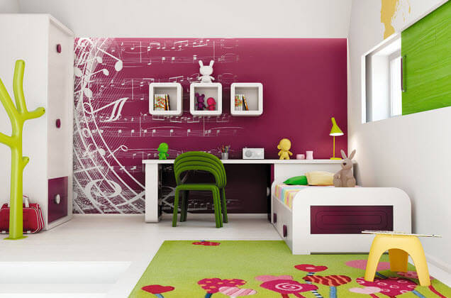 Interior decoration purple bedroom for kids