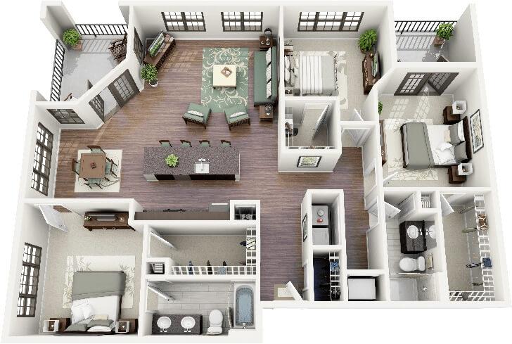 Large three-room apartment floor plan