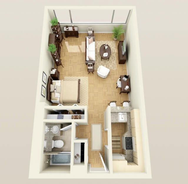 Long and thin mini apartment plan