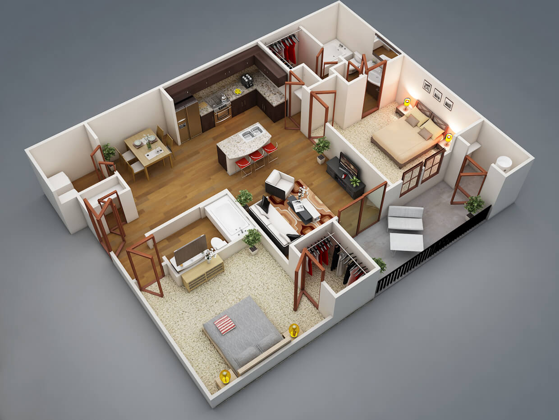 Modern apartment plan in 3D