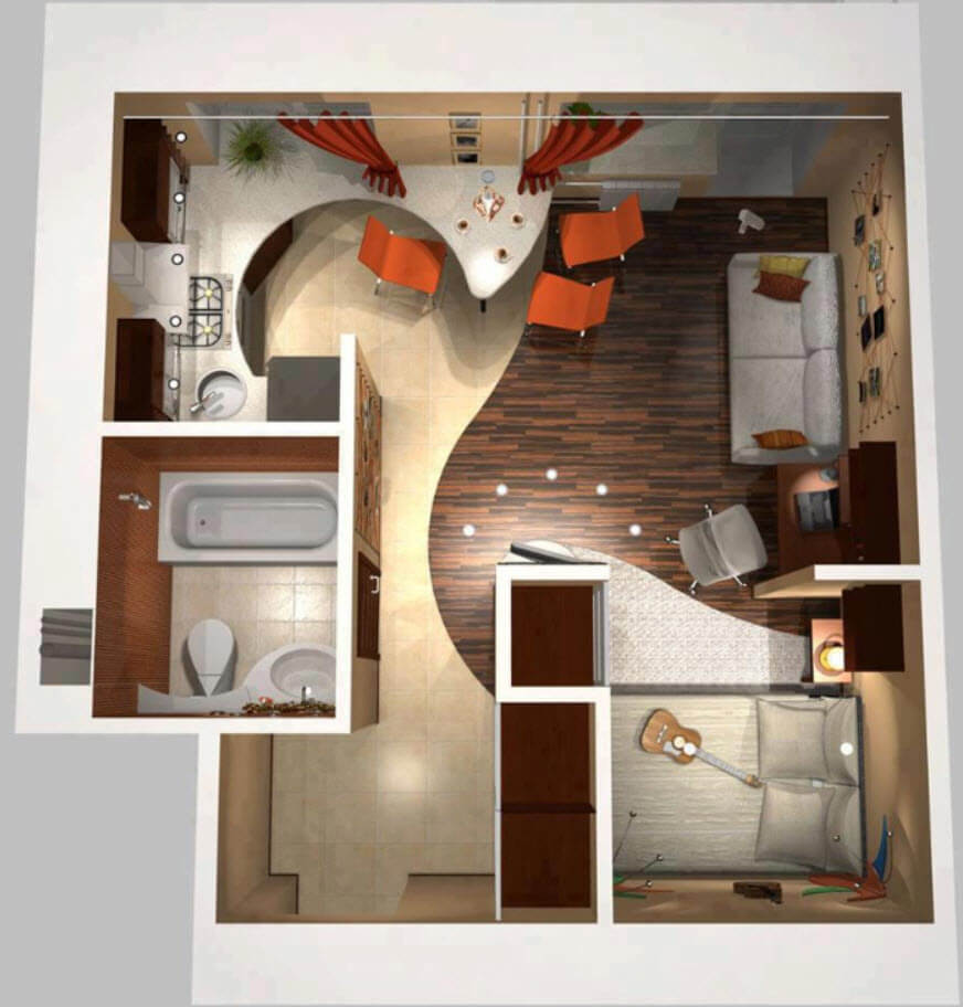 Modern small apartment plan