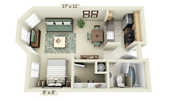 Plan of a small one-bedroom apartment