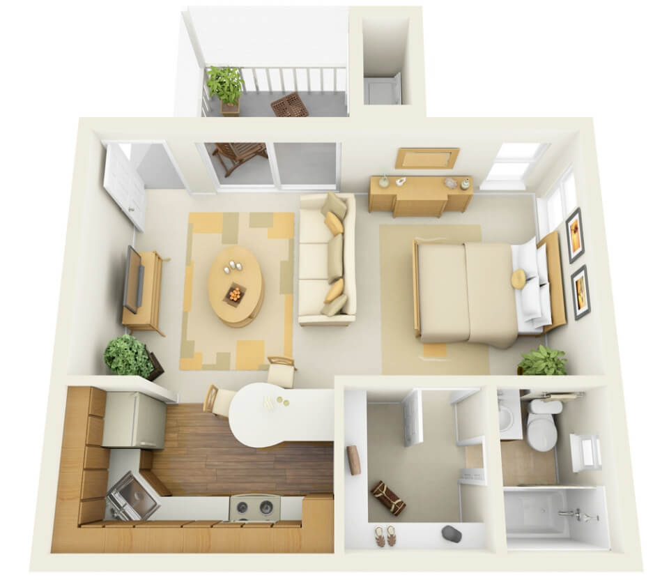 Plan of small one-bedroom apartment
