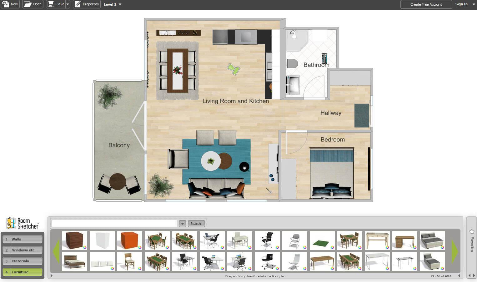 Room Sketcher creates house plans online