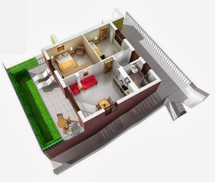 Small apartment in 3D
