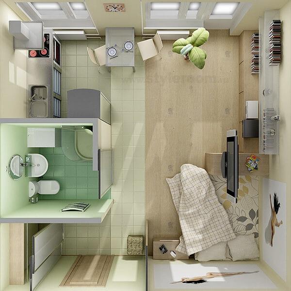 Small apartment of square shape decor