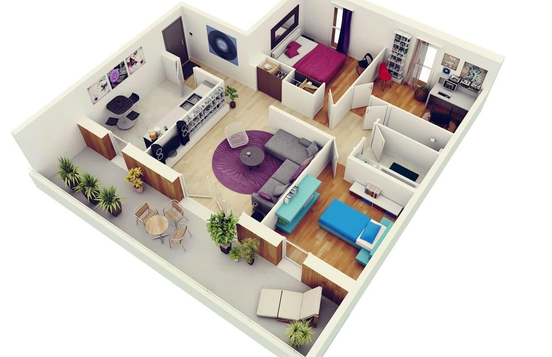 Three bedroom flat apartment map