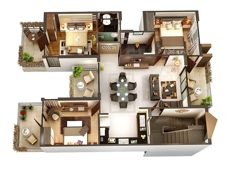 Three-room square-shaped apartment plans