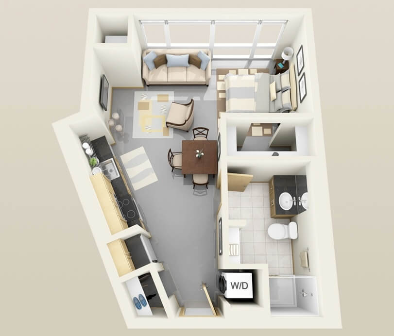 Very small apartment plan with open kitchen