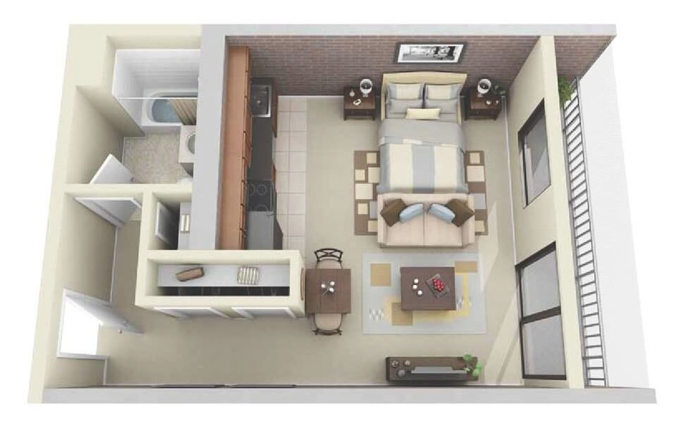 Small Apartments with Bedroom (Plans & Designs) -