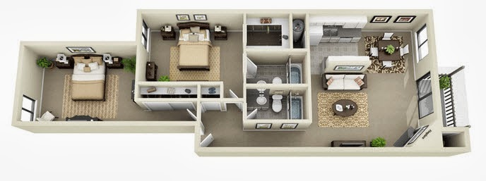 apartment design in long 2 beddroms