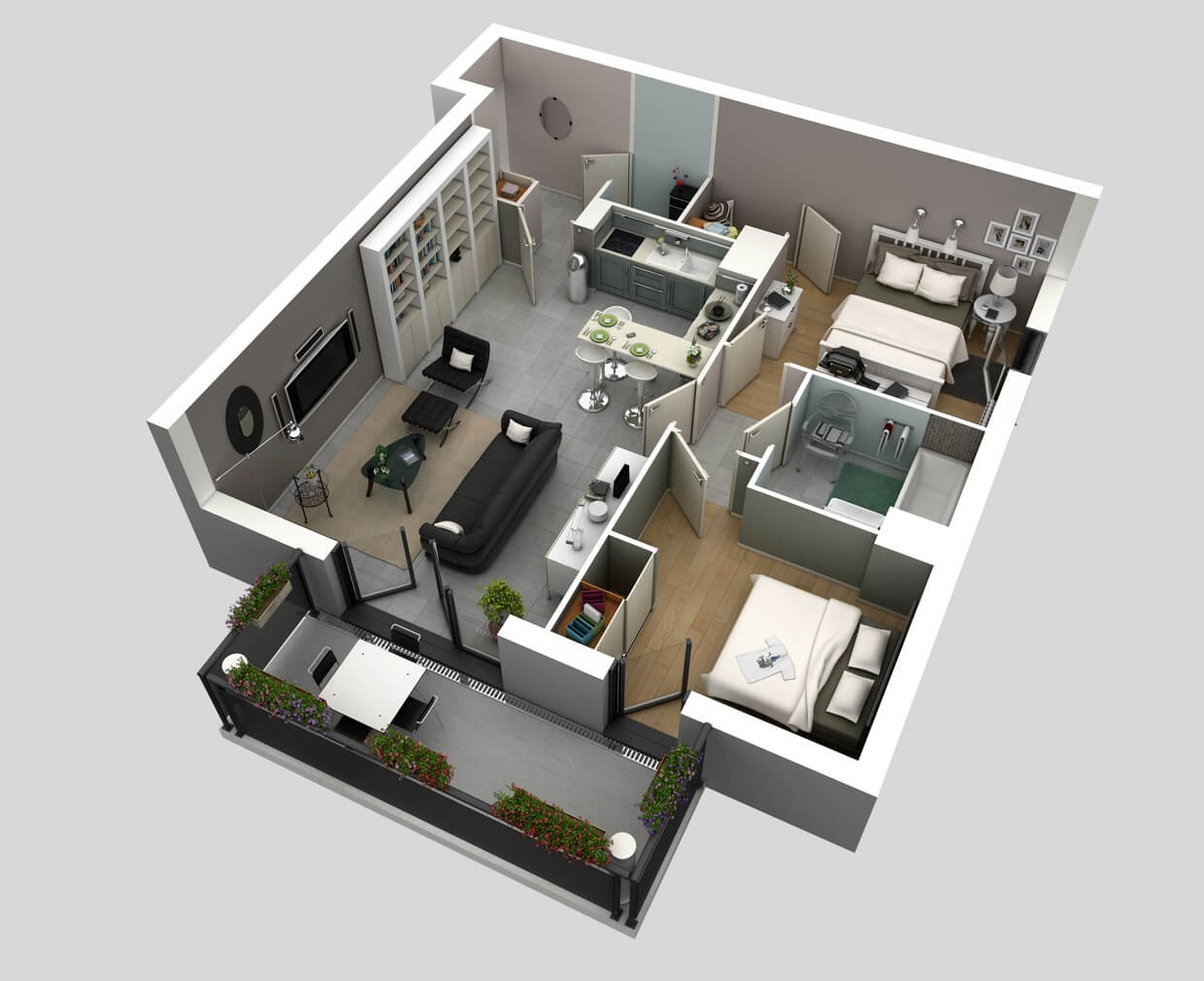 small apartment plan in 3D with terrace