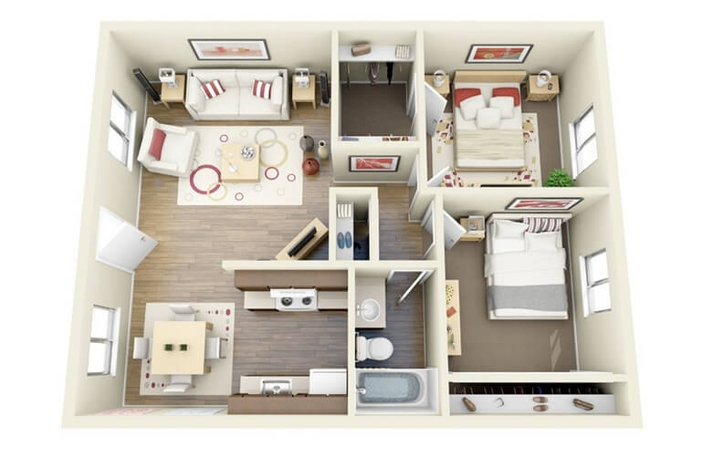 small apartment with square shape plan