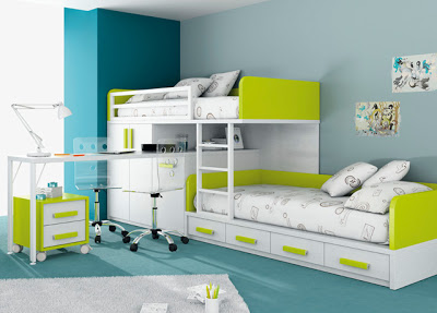 small bedroom design with coupled beds