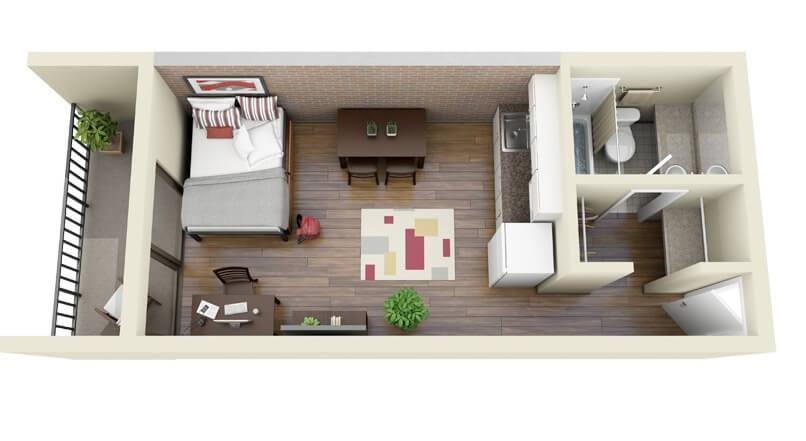 small single bedroom apartment plan