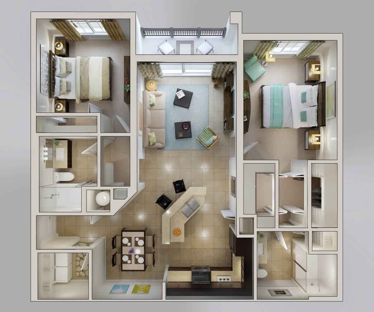 square apartment in 3D plan
