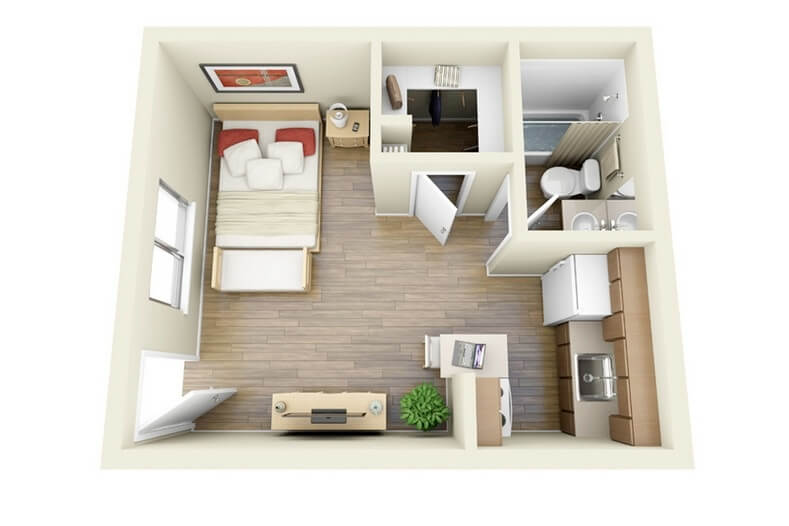 very small one bedroom flat