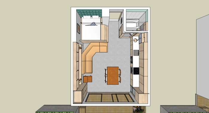 3D view of one-bedroom apartment