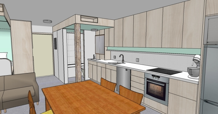 3d apartment interior with a kitchen and dining room
