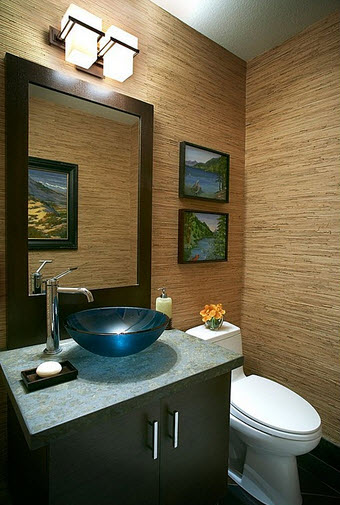 Bathroom design with brown mirror and wall