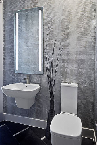 Bathroom design with gray wall
