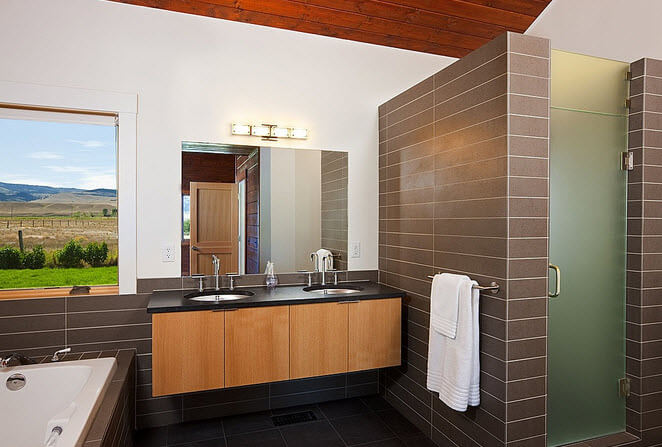 Bathroom design with wooden cabinets