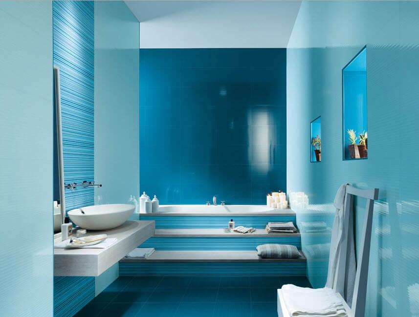 Ceramic light for bathroom in light blue