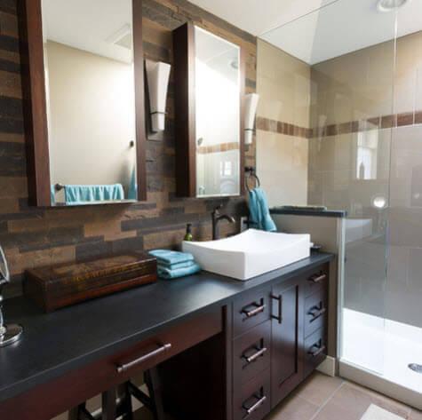 Dark wood bathroom design