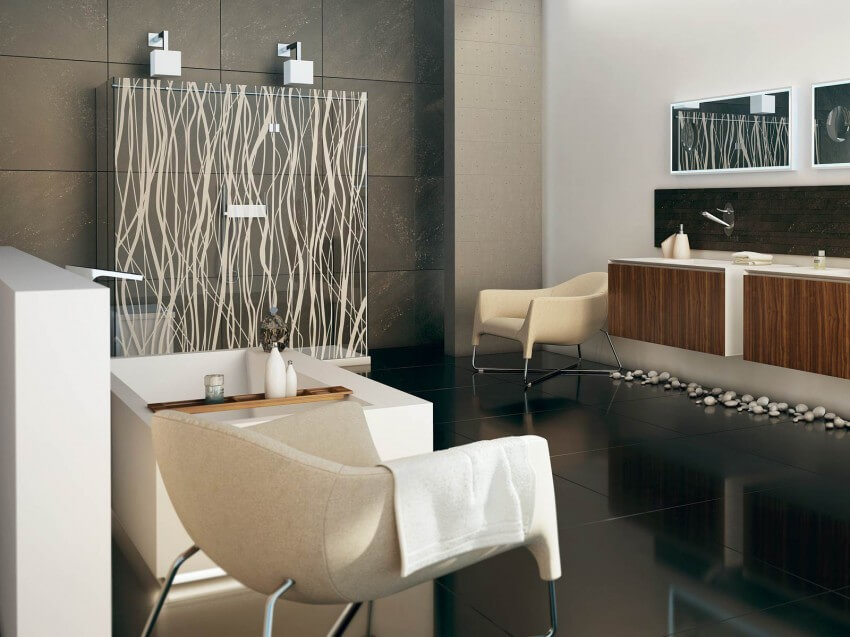 Decoration of bathroom with modern furniture and accessories
