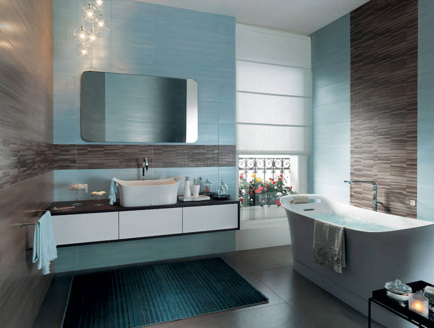 Different types of tiles in bathroom