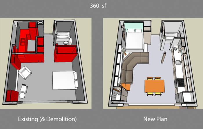 Floor plan of a small one bedroom apartment (Before and after)