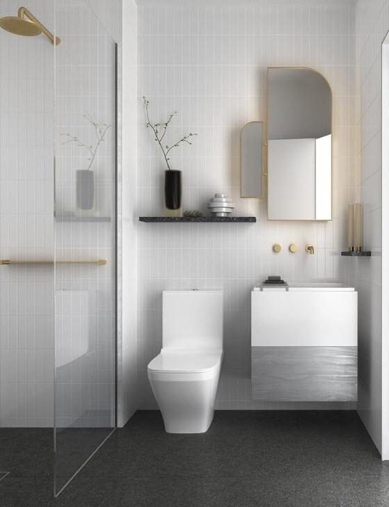 Gray bathroom with modern white tiles