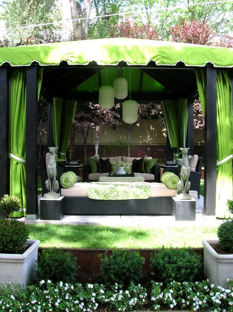 Green awning in garden