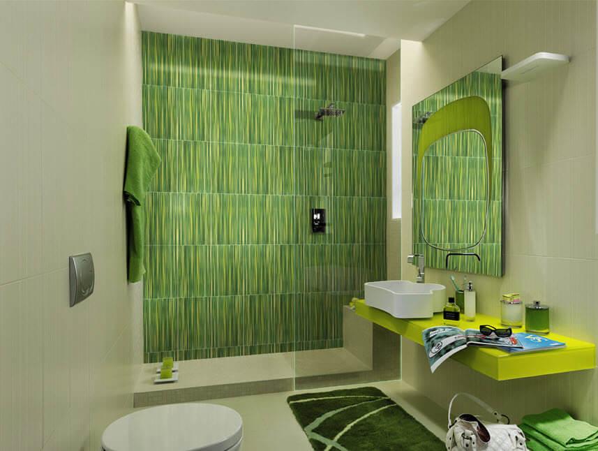 Green ceramic in bathroom designs