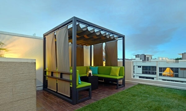 Green roof gazebo on a terrace