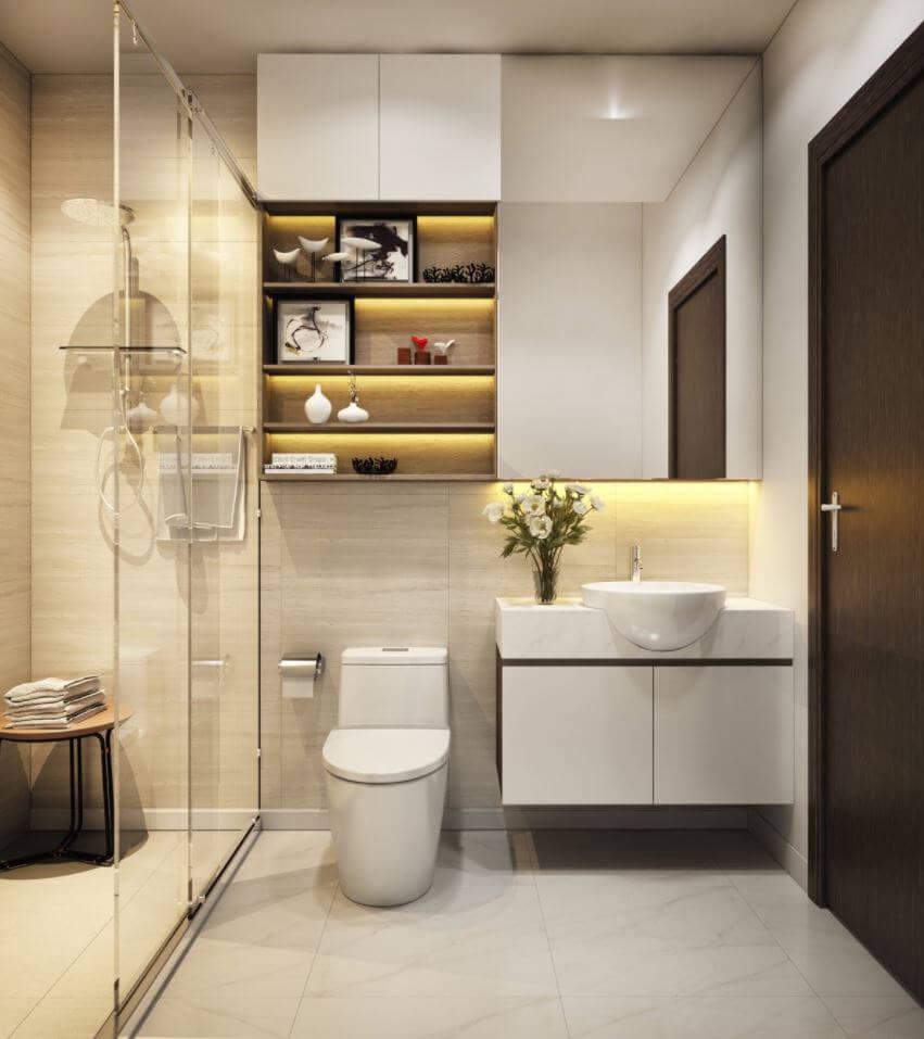 Illuminated modern bathroom