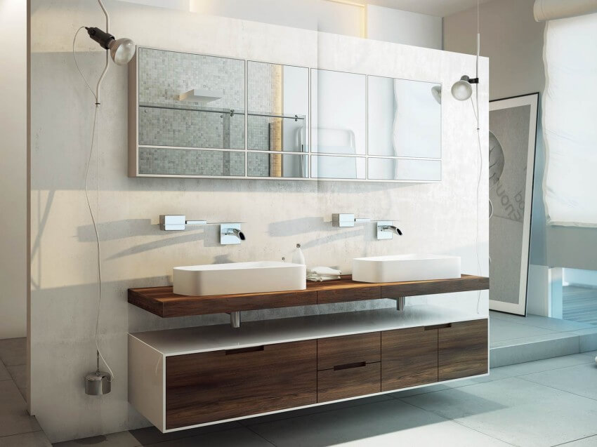 Lavatories with wooden furniture and mirror