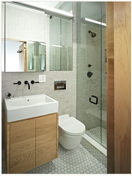 Linear bathroom design