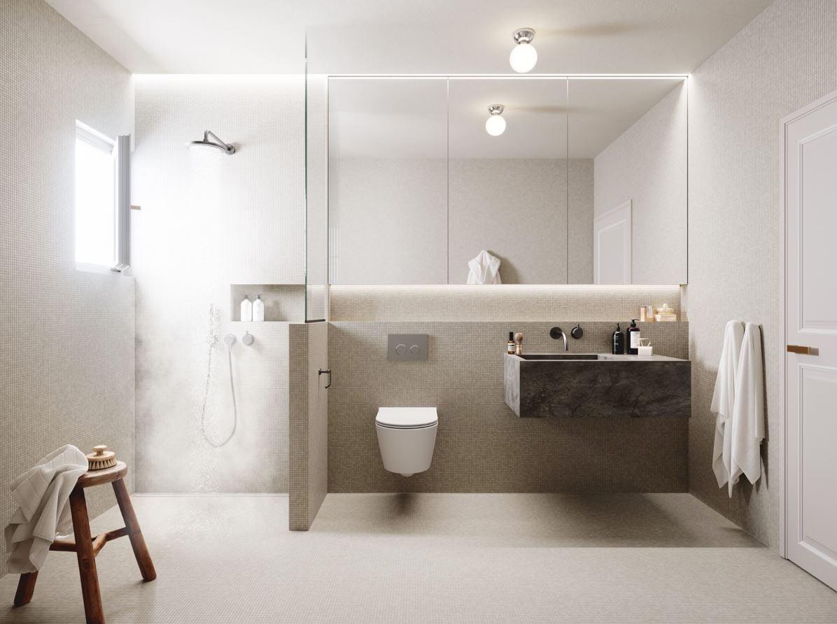 Minimalist bathroom design with neutral colors