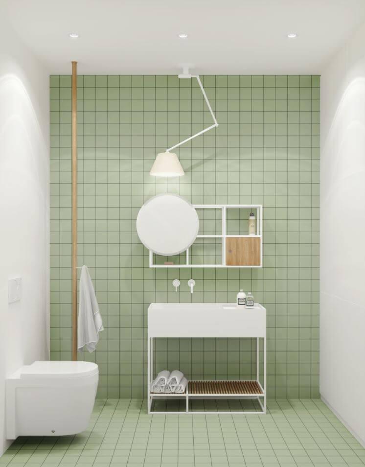 Minimalist bathroom green wall tiles