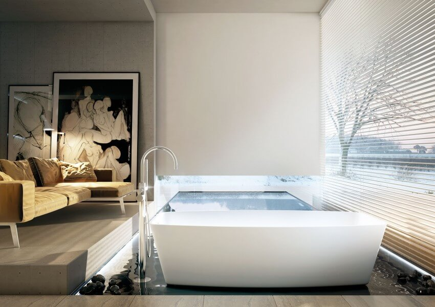 Modern bathroom decoration with works of art