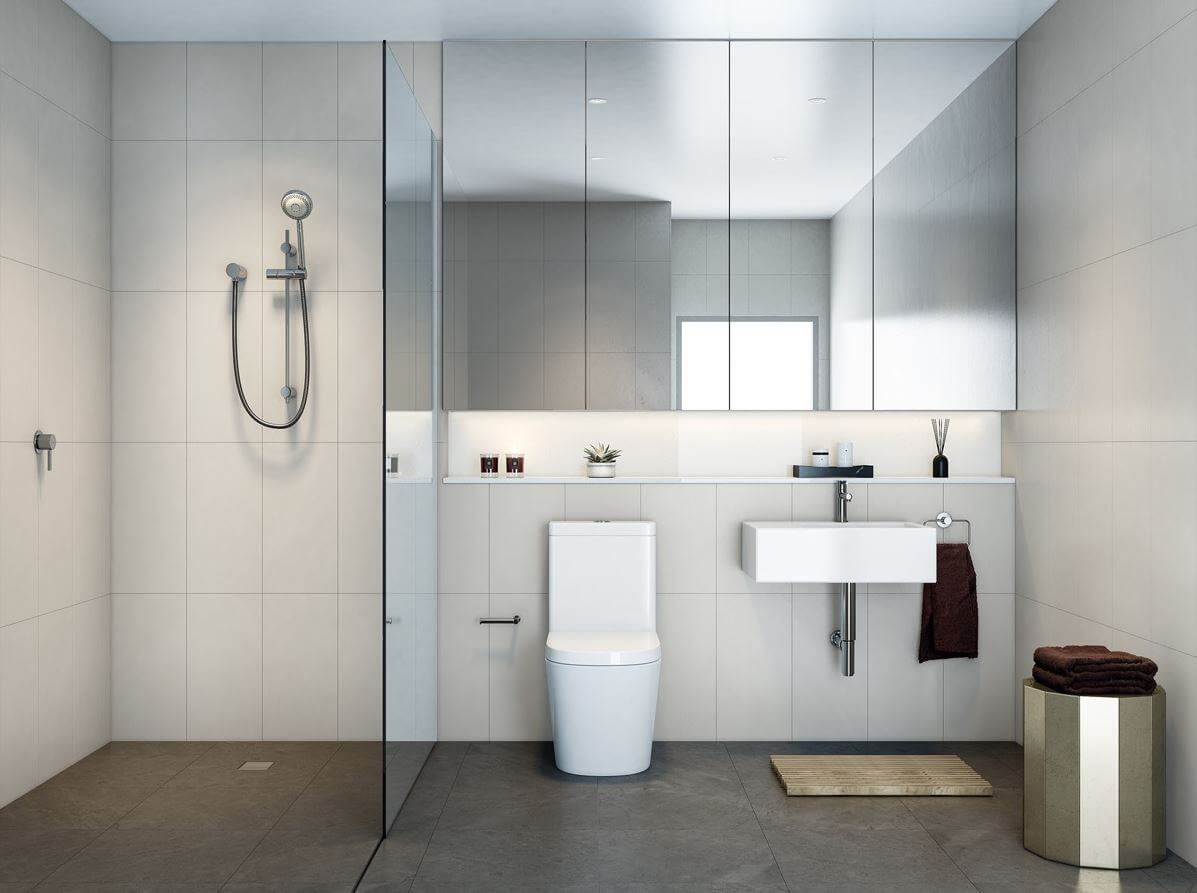 Modern bathroom design with large mirrors